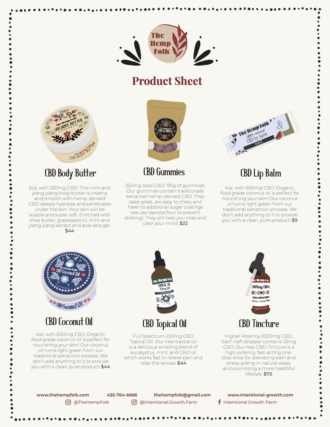 The Hemp Folk Product Sheet 2020
