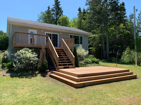 20x10 brown pressure treated deck with a 16x10 lower deck.
