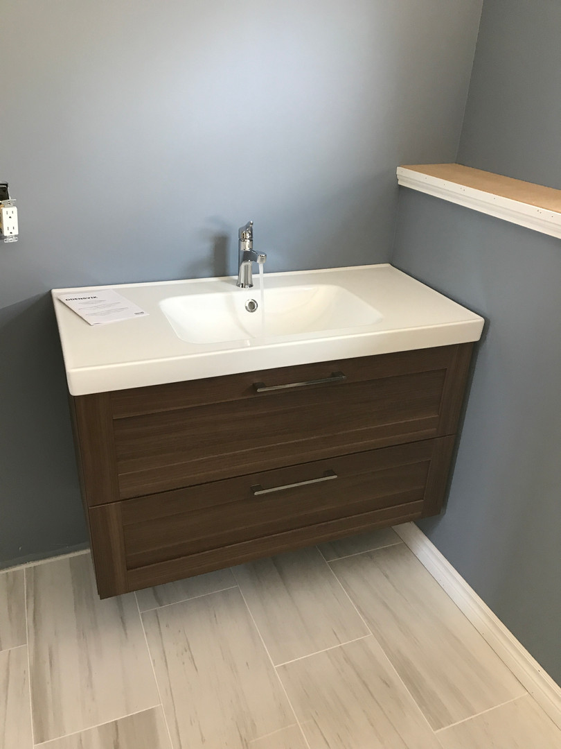 Flooring and vanity installation