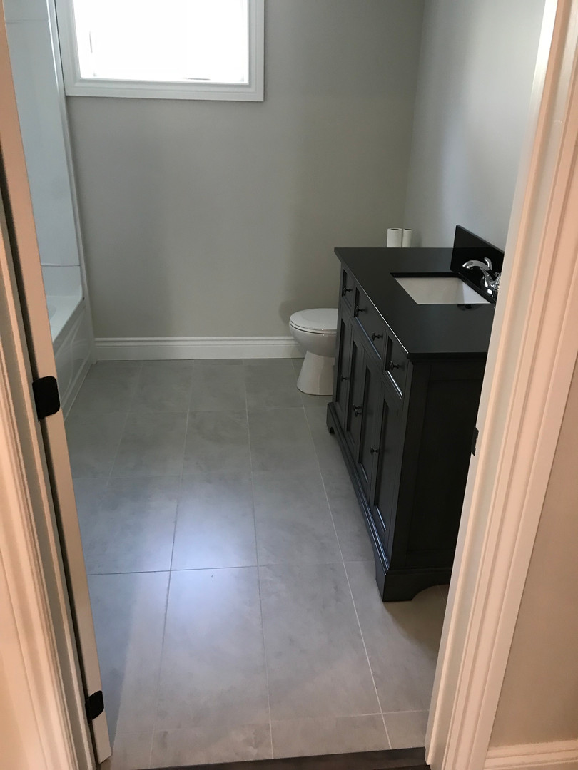 Basement bathroom with heated floors.