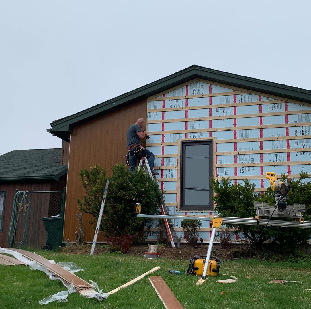 "Sagiper composite siding insulated with 1""XPS foam insulation."