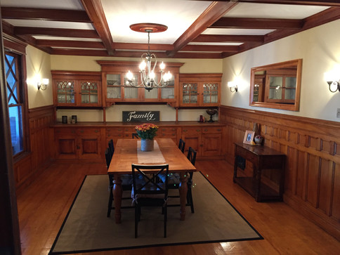 Installed new drywall and reinstalled the original trim from this 140 year old dining room.