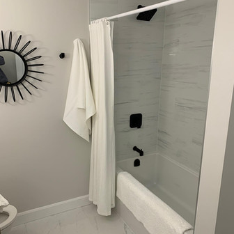 Full bathroom renovation done with the added comfort of ditraheat for the tile floor.