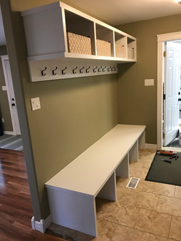 Custom bench with cubbies
