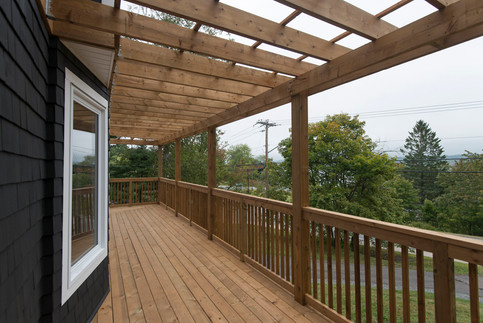Pressure treated deck with pergola