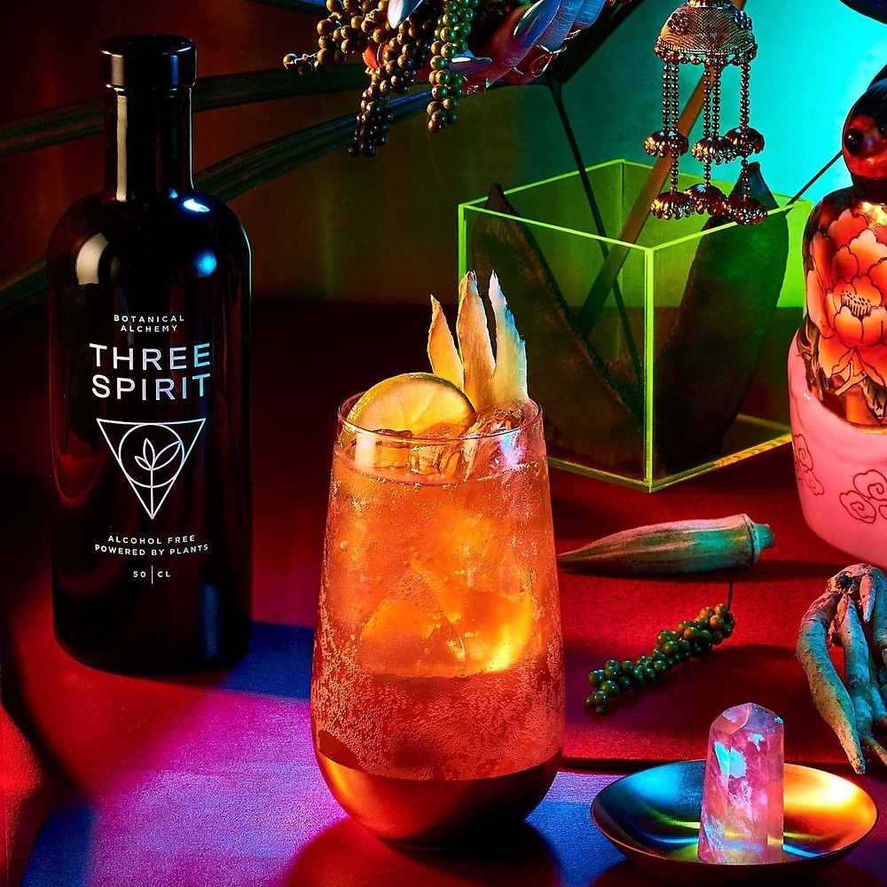 "Three Spirits ""Light & Stormy"" mocktail"