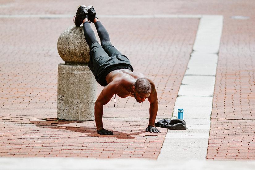 Male exercising in public
