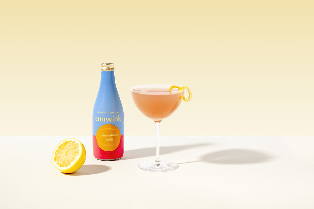 "Sunwink ""Rose + Lemon Poppy Spritz"" mocktail"