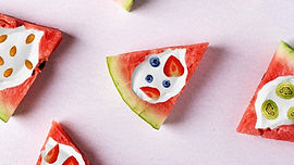 Watermelon slices with fruit