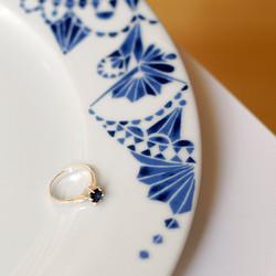 Witgouden solitair ring met saffier