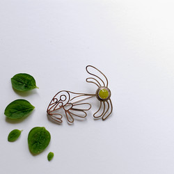 Silver and jade brooch