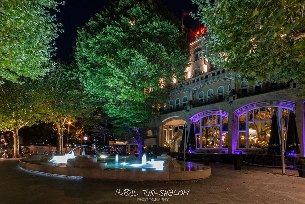 Façade of Hard Rock Hotel Amsterdam American at night