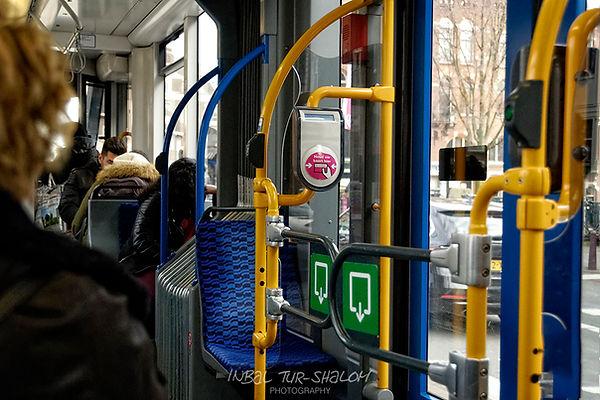 inside of a tram in Amsterdam
