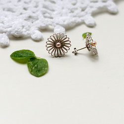 Silver and rosé pearl earrings