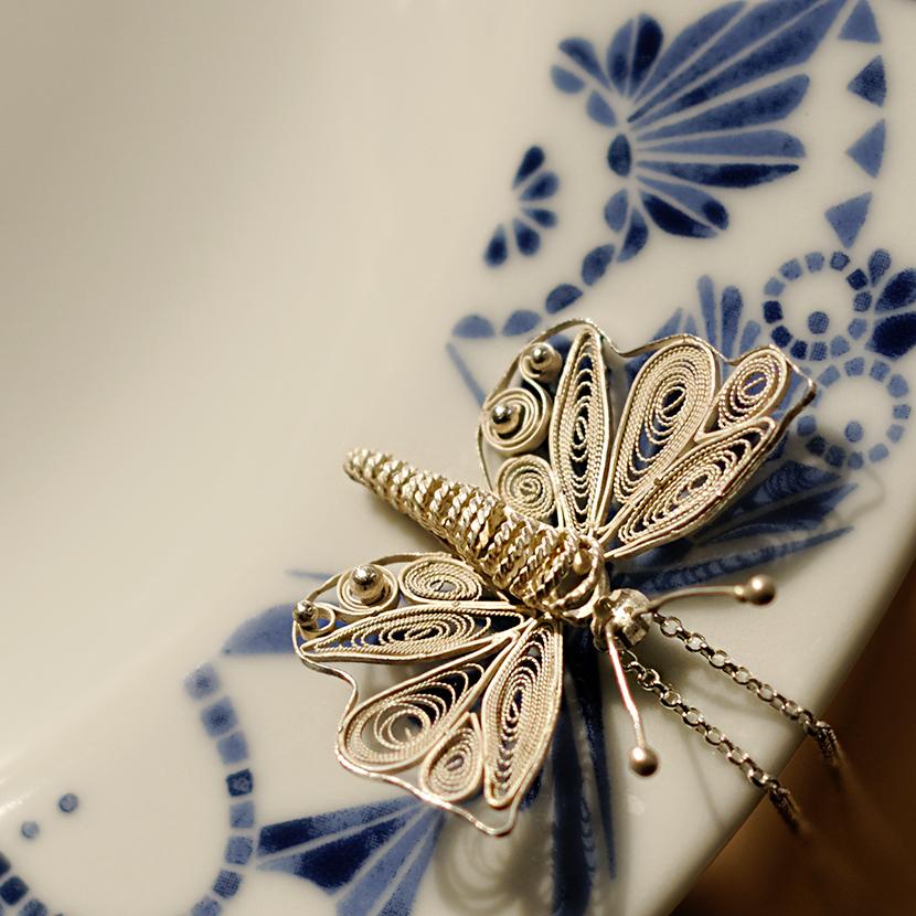 "Silver filigree pendant ""Butterfly"""