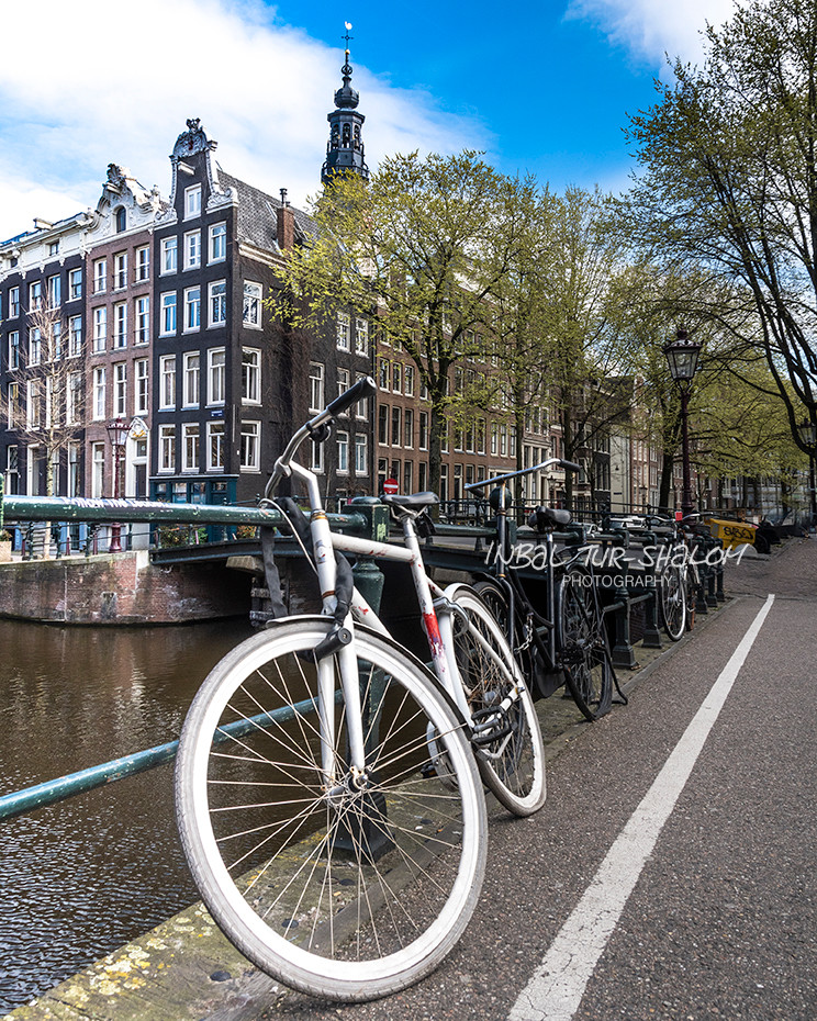 אופנים לבנות על גשר מעל תעלה באמסטרדם ברקע מגדל הכנסיה הדרומית