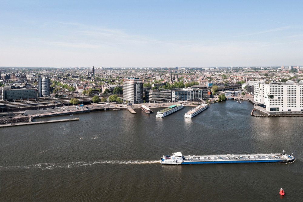Ij River and Amsterdam buildings view from above