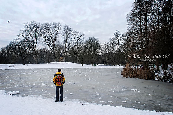 The Vondelpark in Amsterdam with snow and frozen lake
