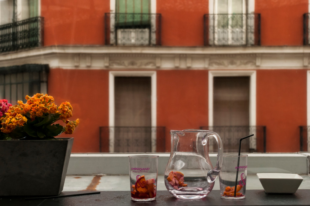 empty jug and glasses of Sangría in Madrid, Spain
