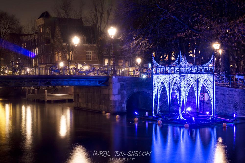 night photo light festival installation in Amsterdam light festival December 2017