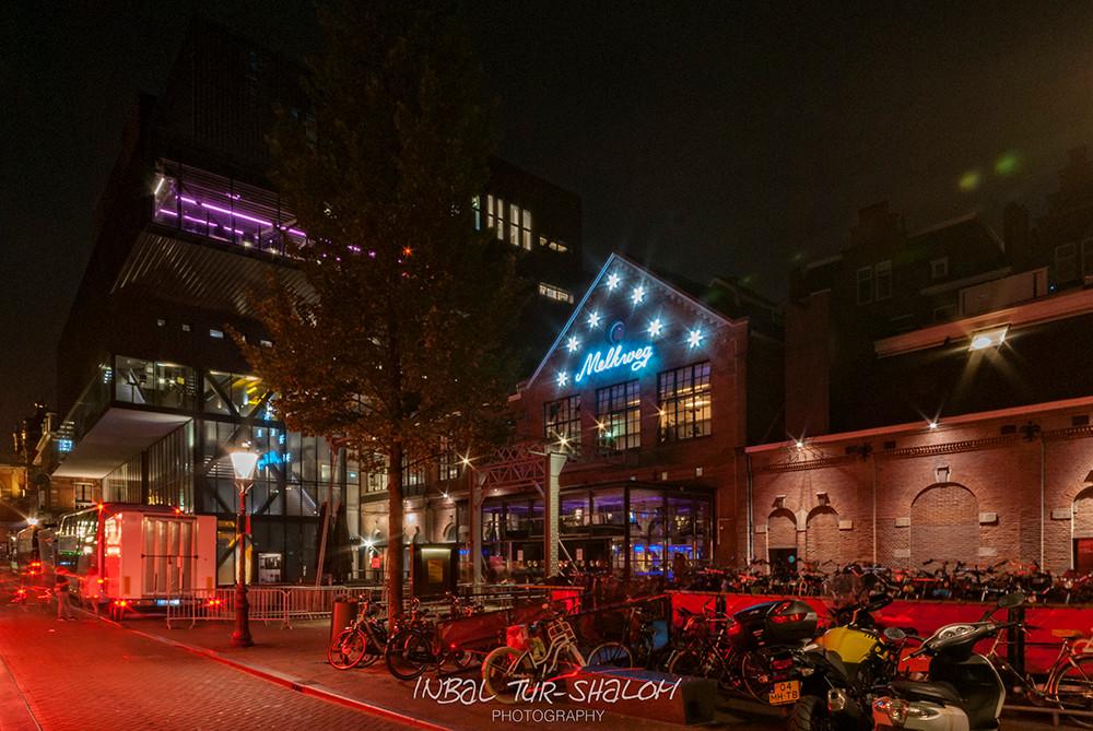 Façade of Night club Melkweg in Amsterdam at night