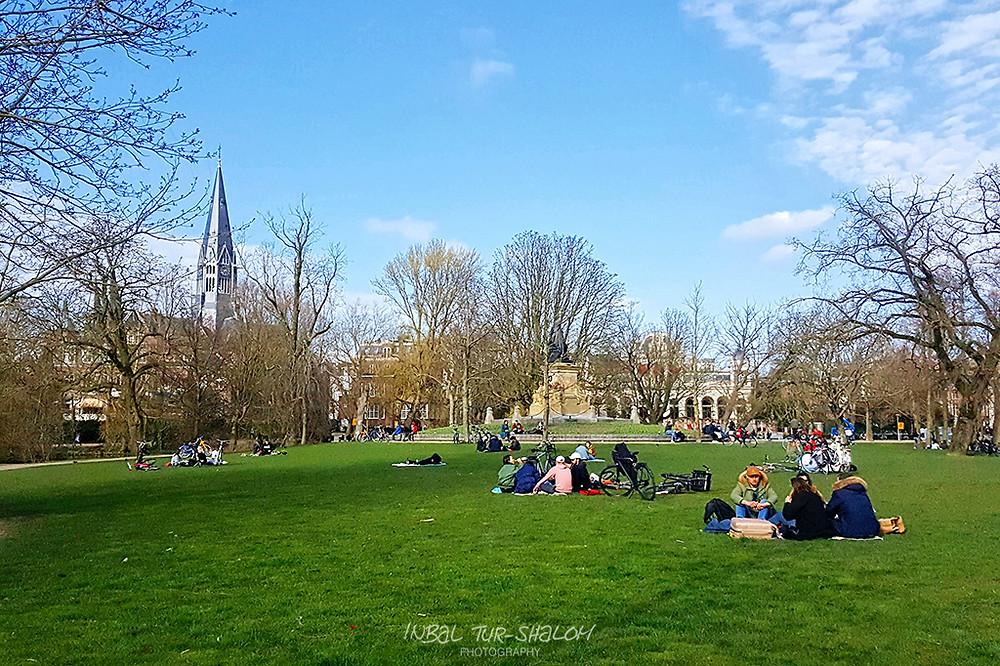 קבוצות אנשים יושבות על הדשא בפונדלפארק באמסטרדם Vondelpark