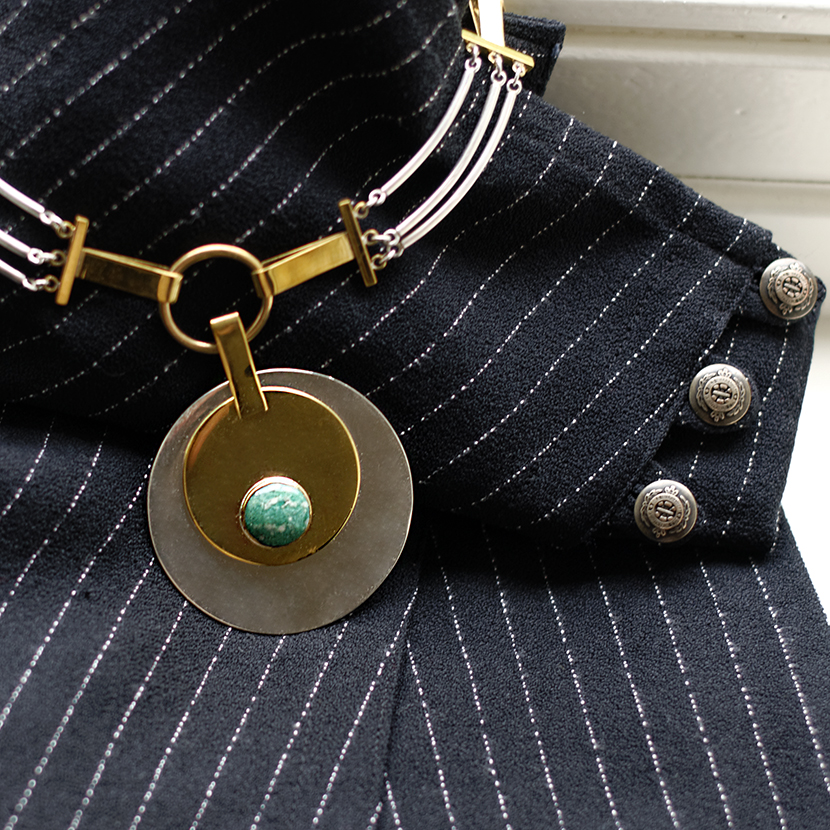Silver, gold and jade necklace