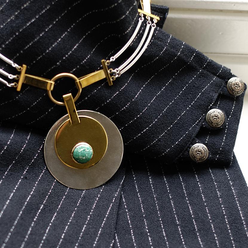 Art Deco collier met jade