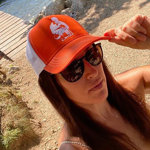 Casquette shootstar trucker filet orange et blanche face femme