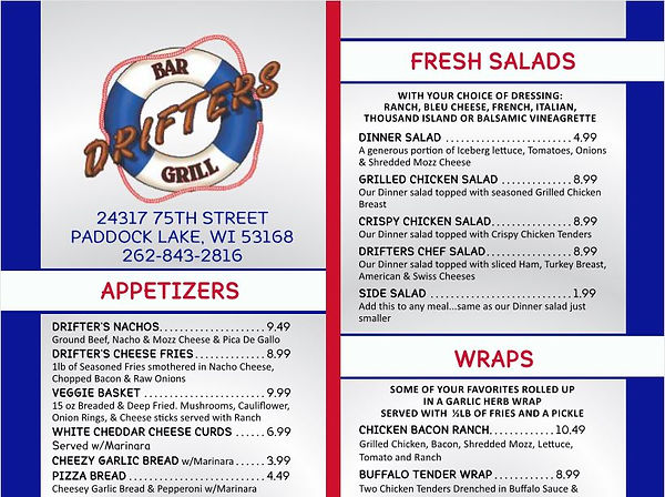 drifters,bar,pubs,racine,wi,salem,paddock,lake,food,specials,drink