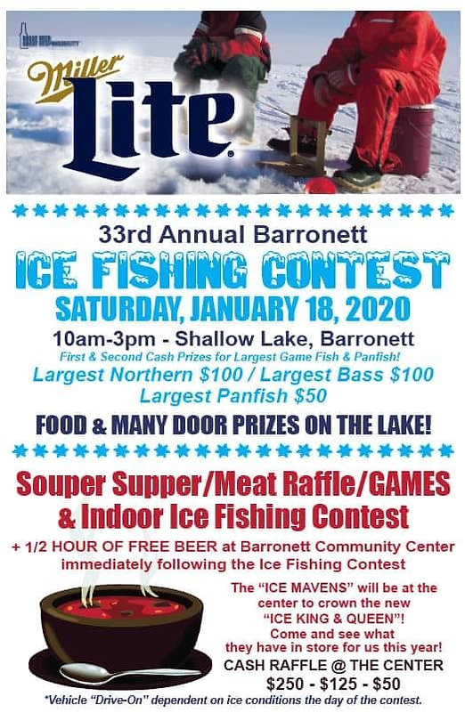 ice,fishing,contest,barronett,wi,cumberland,bar,grill,shell,lake,shallow,cash,prizes,raffles
