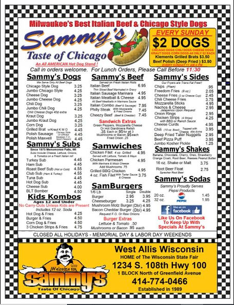 most recent sammys menu posted may 22nd.