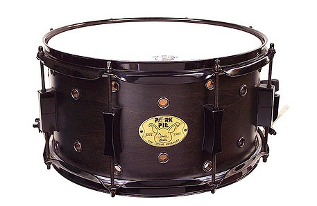 "Pork PieLittle Squealer Maple Snare 7""x13 "" Vented Black on Black Hardware"