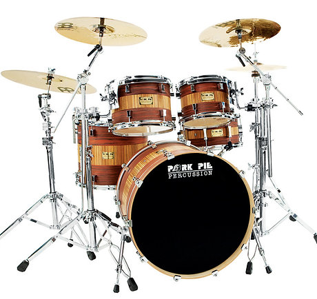 Pork Pie USA Custom Drum Kit - Rosewood Zebrawood 4 Pieces inc. Snare