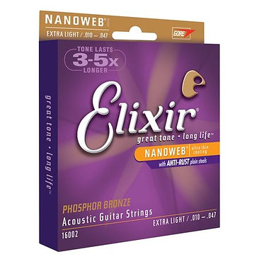 Elixir Acoustic Guitar Strings - Nanoweb Phosphor Bronze. Extra Light
