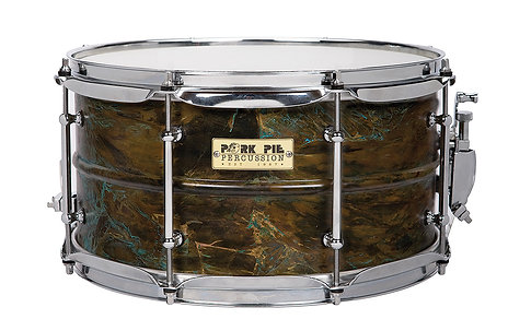 "Pork Pie USA Custom Snare - Patina Brass 7""x13"""