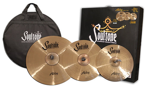 "Soultone Abby Pack- 3 Cymbals 20"",16"",14 with box and bag"