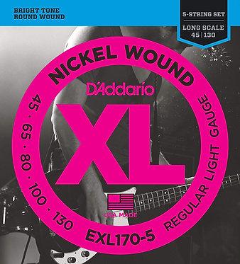 D'Addario Regular Light 5 Bass Strings-Nickel Wound Front Pack
