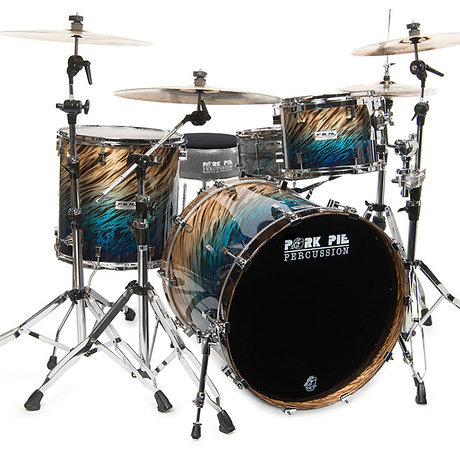 Pork Pie USA Custom Kit -100 % Birch Shells-Blue Fade Dip 4 Pieces inc. Snare