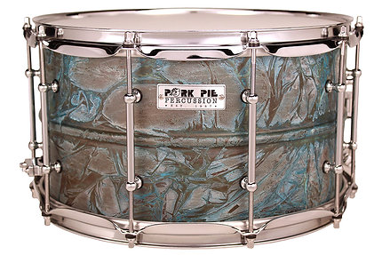 "Pork Pie USA Custom Snare - Patina Brass 8""x14"""