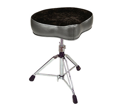 "Pork Pie Percussion ""Big Boy Saddle Drum Throne"" - Carbon Fiber with Black Top"