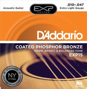 DA-EXP15 Coated Phosphor Bronze Acoustic Guitar-Extra Light-10-47-Front