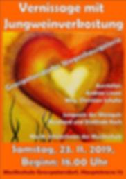 Einladung zur Venissage von Andrea Linzer und Christian Schulte mit Weinverkostung von Reinhard un Dietlinde Koch am 23. 11. um 18 Uhr in der Musikschule Großpetersdorf