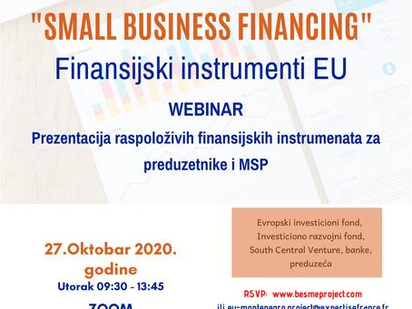 """WEBINAR - Poziv preduzetnika da prisustvuju događaju """"Small Business Financing"""", 27. oktobra 2020"""
