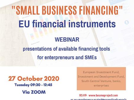 """Vebinar """"Finansiranje malih preduzeća"""", podrška malim preduzećima"""