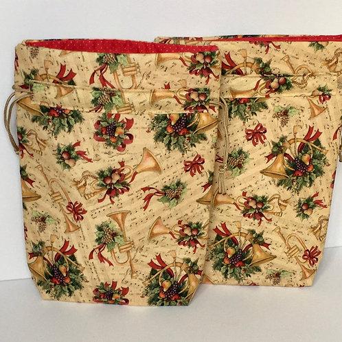 Trumpets and Sheet Music Print Reusable Fabric Drawstring Gift Bag