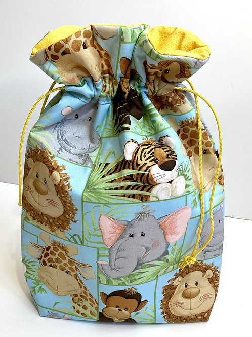 Jungle Animals Baby Shower Eco-Friendly Reusable Fabric Gift Bag - 2 Sizes
