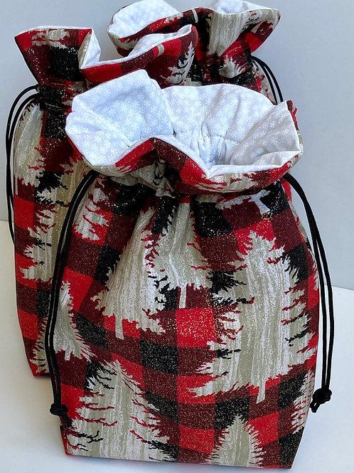 Hunter's Plaid & Trees Fabric Drawstring Winter Gift Bag