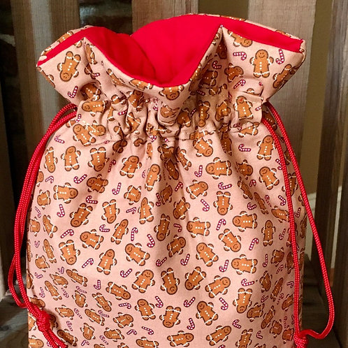 Tiny Gingerbread Men Quilted Fabric Drawstring Gift Bag - 3 Sizes
