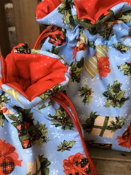 Whimsical Packages on Light Blue Fabric Drawstring Gift Bag - 3 Sizes